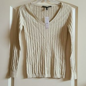 WHBM LS Ribbed V-Neck Sweater